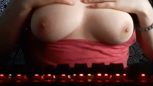 Gamer Girl playing with her Boobs whilst Watching a Twitch stream